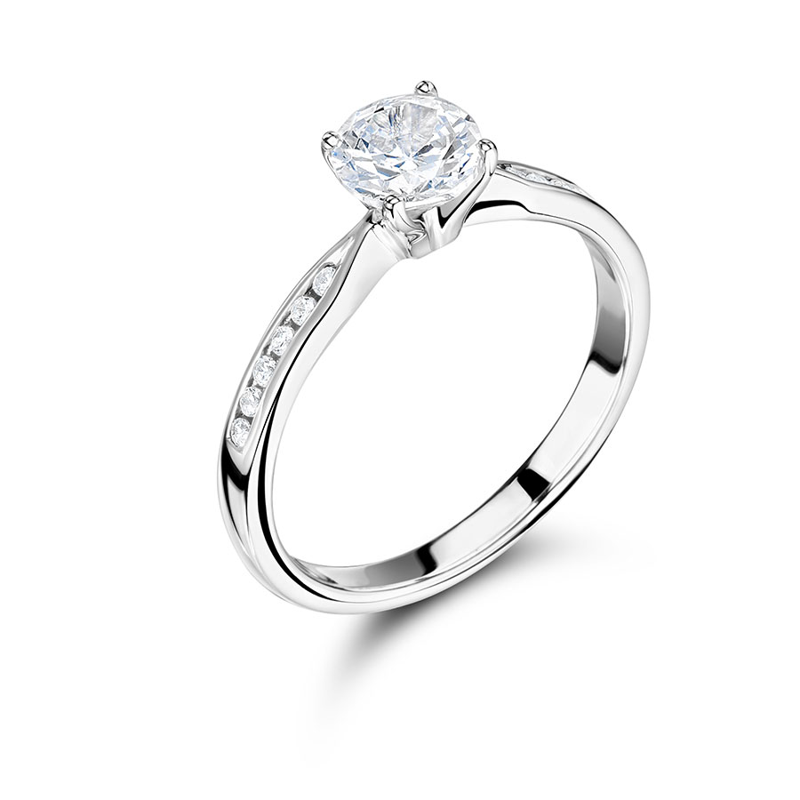 Round Solitaire Diamond with Channel Set Shoulders – ER2247