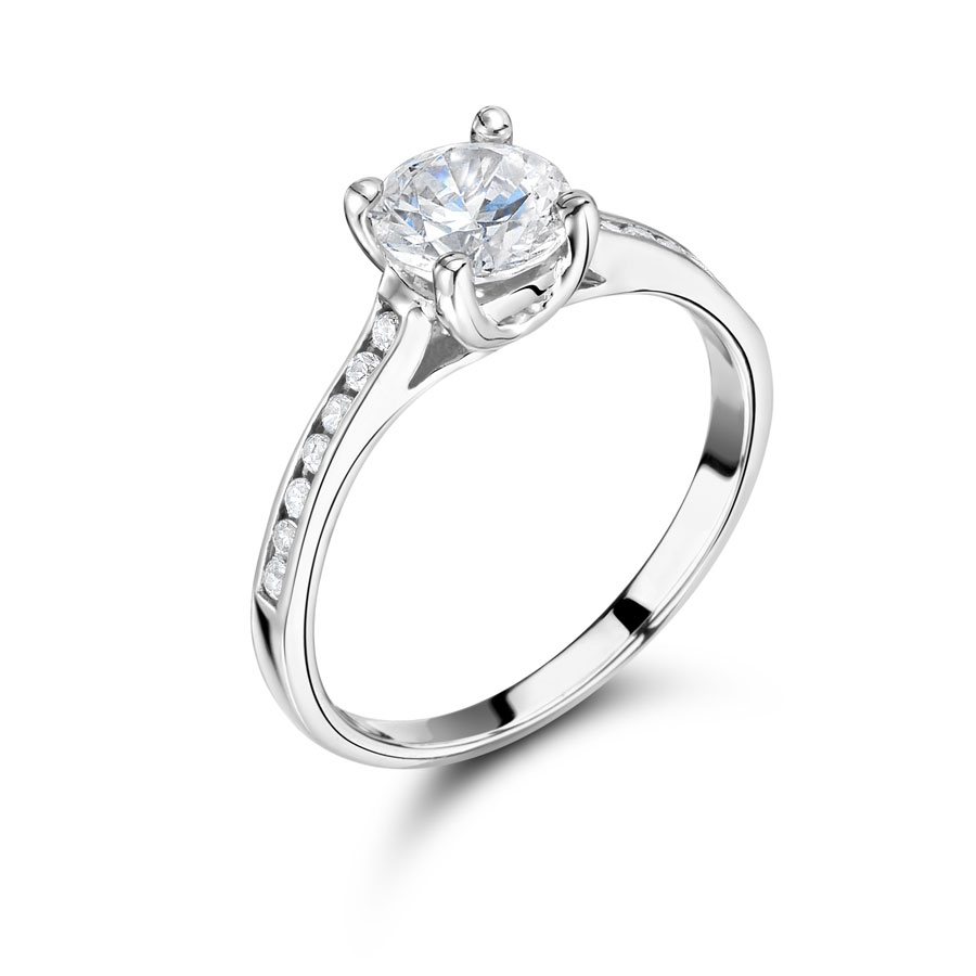 Round Solitaire with Channel Set Shoulders – ER2059