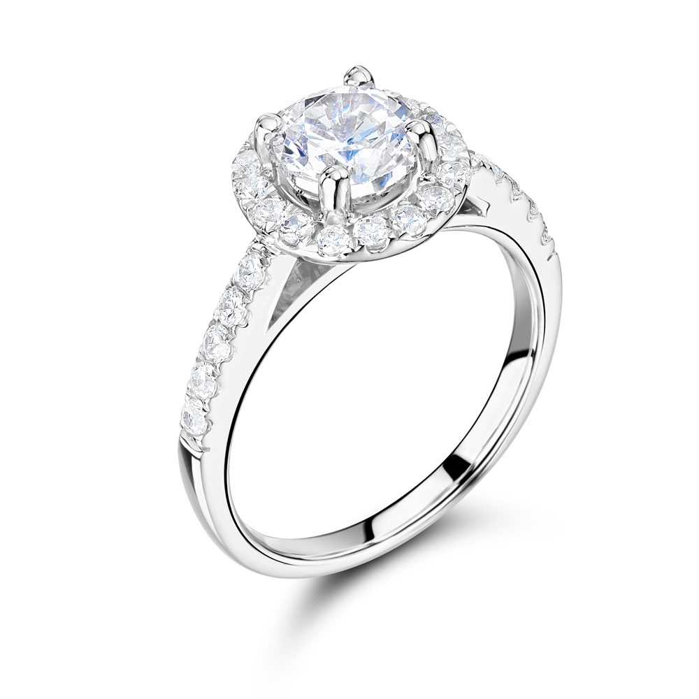 Round Scallop Set Halo Engagement Ring – ER2316
