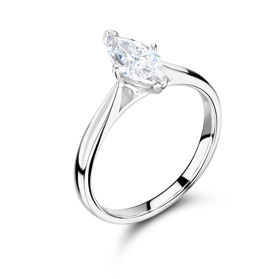Marquise Solitaire with Tapered Shoulders Engagement Ring- ER2403