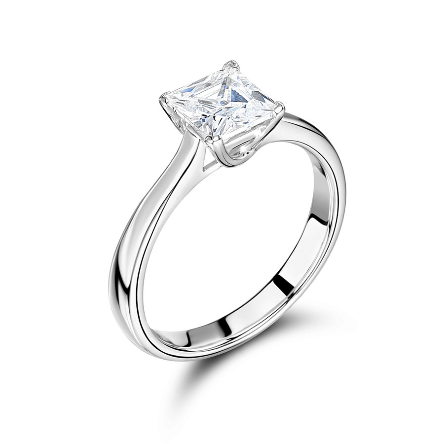 Princess Solitaire with Plain Classic Shoulders Engagement Ring – ER2297