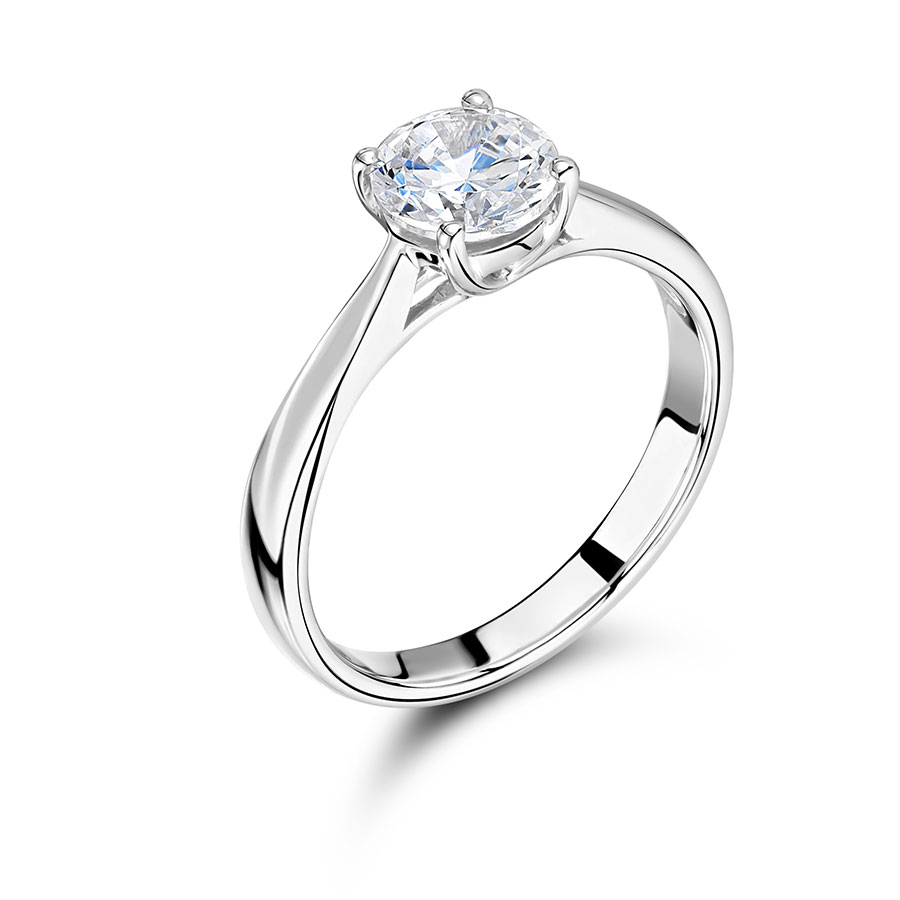Round Solitaire with Tapered Shoulders Engagement Ring – ER2240