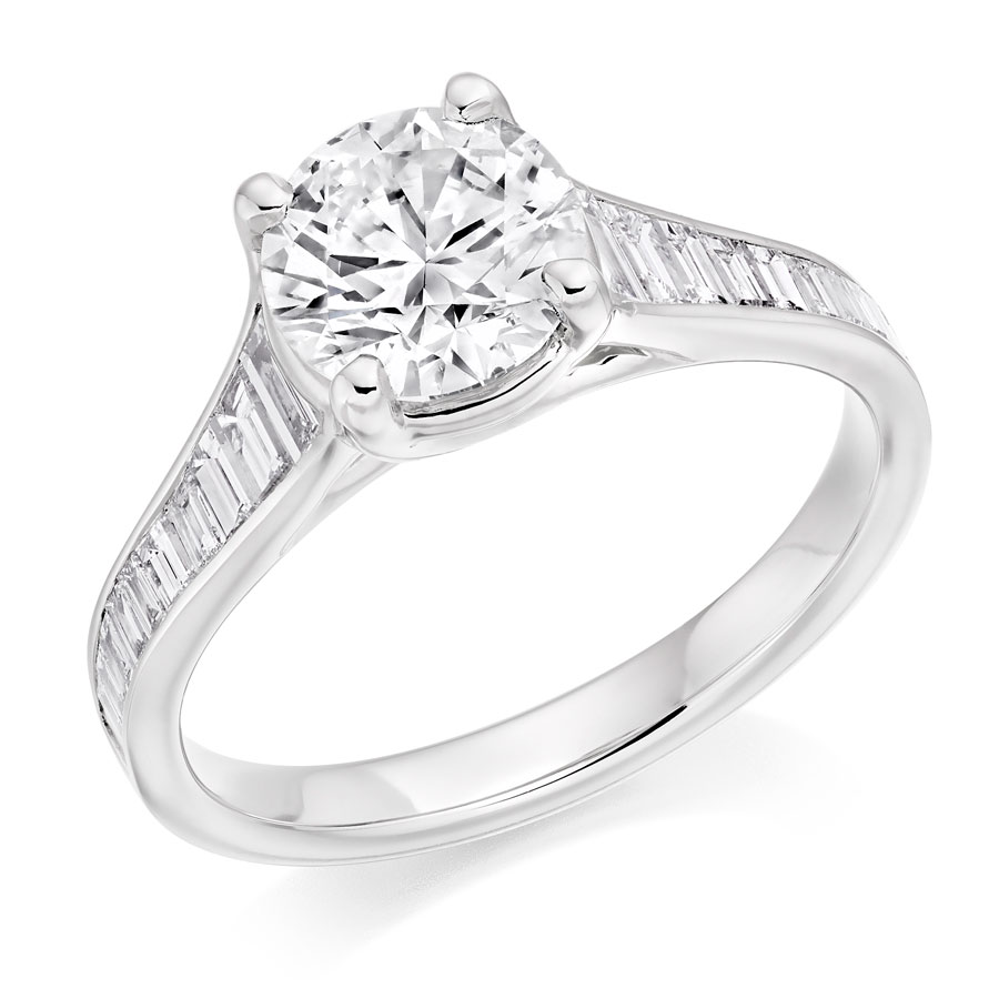 Round Brilliant Baguette Cut Diamond Reverse Tapered Engagement Ring Engagement Ring Specialists